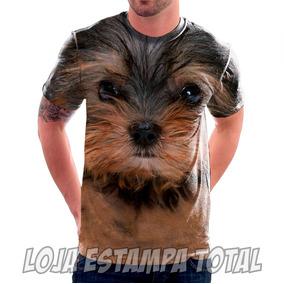 Camiseta Cachorro Yorkshire - Camisa Estampa Total 3d