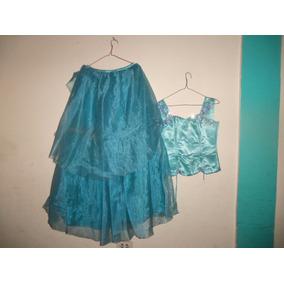 Vestido De 15 Años Azul Turquesa Razo Cristal Ajustable