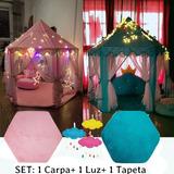 1casa Castillo Carpa Juego+1 Luz+1tapeta Princesa Plegable