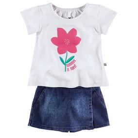 Conjunto Infantil Feminino Hering Kids Blusa E Shorts Saia