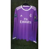 Jersey Real Madrid Visita Morada 2016-17 Champions Nombres