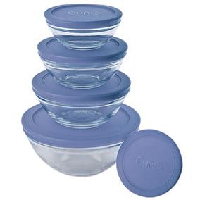 Conjunto De Potes Em Vidro 5 Peças Com Tampa Azul - Euro
