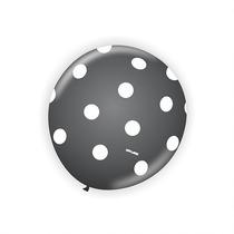 Balão Latex Anos60 Nº9 Preto Poá Branco - Bexiga Bolinha 25u