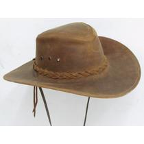 Sombrero De Piel De Res Color Miel Trenza