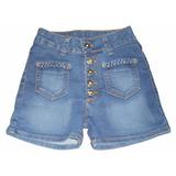 6 Shorts Jeans Juvenil Feminino Azul Claro