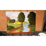 Pintura Óleo Painel - Paisagem Rural - 70x50 Cm