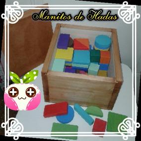 Montessori,caja De Madera- 50 Bloques+caja