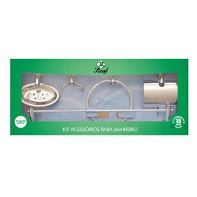 Kit Acessórios Para Banheiro 5 Peças Aço Inox