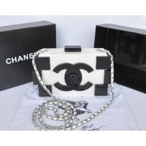 Linda Bolsa Chanel Lego Clutch Branca/preta Na Caixa !!