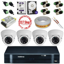Dvr Intelbras Mhdx 1004 + 4 Cameras G3 + Acessórios Kit 1