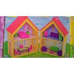 Casa De Bonecas Dobrável Em Mdf Com Móveis Miniatura
