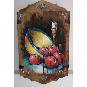 Alacena Decorativa Madera Antigua Pintado En Oleo Frutero