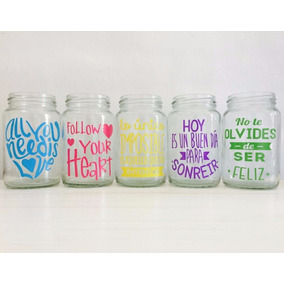 Calco Stickers Vasos Frases Personalizado Colores F