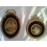 Dos Antiguos Cuadros Bronce Con Retrato En Miniatura