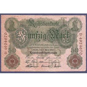 Alemania Reich 1910 Billete 50 Marcos Usado Fondo Rosa
