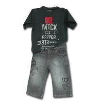 Conjunto Infantil Camiseta 82 E Bermuda Em Jeans Caveira B