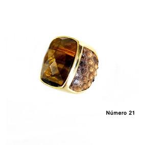 Semi Jóia Anel Quadrado Com Pedra Natural N°21 Olho De Tigre