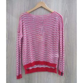 Blusa Biamar Malha Tricot Linha Metalizada Vermelho E Prata