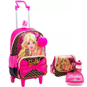Kit Mochila De Rodinhas Barbie Beautiful Girl + Lancheira