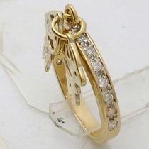 3753 Anel De Ouro 18k 750 Com 18 Diamantes Com 2 Meninos