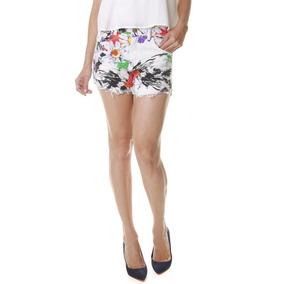 Shorts Jeans Multi Ponto Denim Estampa Flores