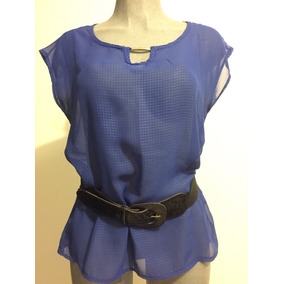 Blusa Chifón Azul Rey Semi Transparente, Talla M