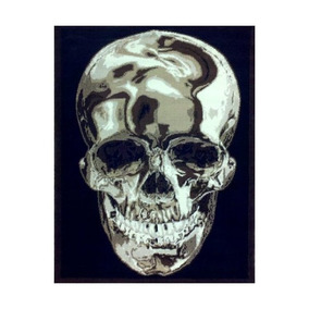 Alfombra Cráneo De 4 Pies. X 5 Ft. 2 En. Diseño Negro # 134