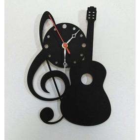Relógio De Parede Corte Laser Clave Sol Música Violão Preto