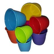 Pack X 3 Macetas Reforzadas 16 Cm Plastico Varios Colores