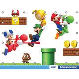 Painel Mario Bros 1,50x1,50m Lona Festa Aniversario Banner