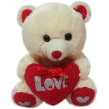 Urso Ursinho De Pelucia Pequeno Com Coração Love - 30cm