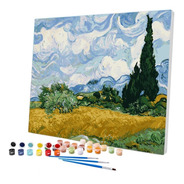 Pintura Numerada Campo De Trigo E Ciprestes -van Gogh_p2