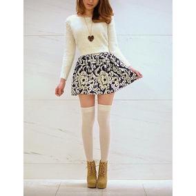 Calcetas Largas Tipo Medias Japonesas Blancas