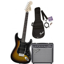 Kit Fender Squier Strat Hss Sb + Frontman 15g + Acessorios