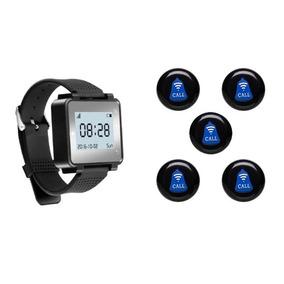 Chama Garçom Kit 5 Botões + 1 Relógio + 1 Ano Garantia
