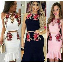 Conjunto Feminino Cropped E Saia Longa Festa Blogueira #cj8