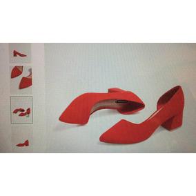 Zapatos Stradivarius Gamuza Rojos Divinos Tacos Cuadrado 5 C