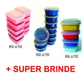 Kit C/50 Potes Vasilhas De Plástico C Tampa + Brinde