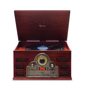 Toca Discos Vitrola Raveo Tenor: Bluetooth, Rádio, Cd, Usb