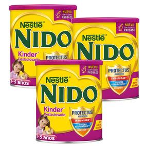 3 Latas Leche Nido Kinder ® Deslactosado 1 A 3 Años 1.6 Kg