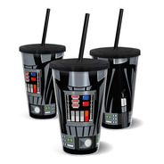 Copo Canudo Parede Dupla 500ml Star Wars Dath Vader - Beek