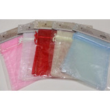 Paquete De 4 Bolsas De Organza Unicolor De 12.5cm X 17.5cm