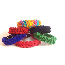 Collar Tejido Crochet Resistente Artesanal Perro Gato