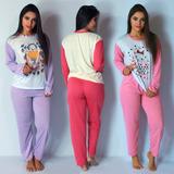Kit 5 Pijama Longo Malha Manga Comprida Inverno Atacado