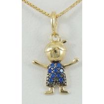 Pingente Menininho Pedras Azuis Ouro 18k Preço De Lançamento