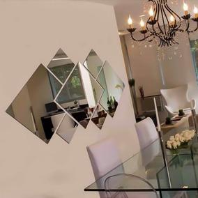 Espelho Decorativo Acrilico Quadrados Abstratos 100 X 56 Cm