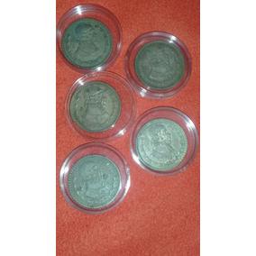 Lote De 5 Monedas Antiguas De 1 Peso Plata Ley .100