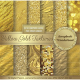 Kit Digital Fondos Dorados Papel Escarchados Metalizados Oro