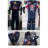 Kit Red Bull Para Kart Macacão Luvas E Sapatilhas