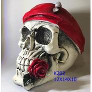 Caveira Cranio Decorativo Lenço Vermelho Scarf Red Rosa